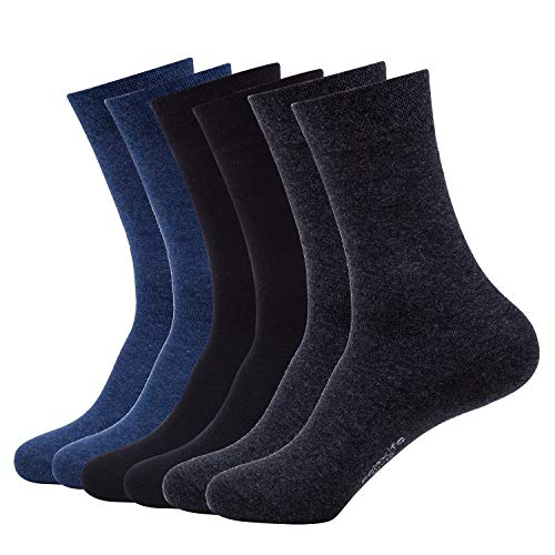 Mens Cotton Dress Socks for Business Unisex Non-binding Comfortable Large Casual Socks 6 Pack