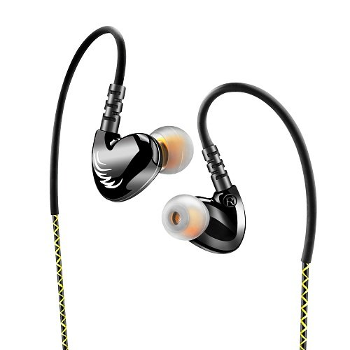 Simptech Sports Headphones Earbuds With Microphone – Sweatproof Noise Cancelling Earphones,HIFI Stereo Bass,Crystal Clear Sound,Ergonomic Comfort-Fit Design Best for Sport Running (Black)