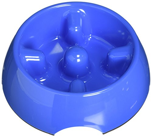 Dogit Go Slow - Antiadherente para perros, plato de perro de alimentación lenta, adecuado para alimentos húmedos o secos, medio, azul