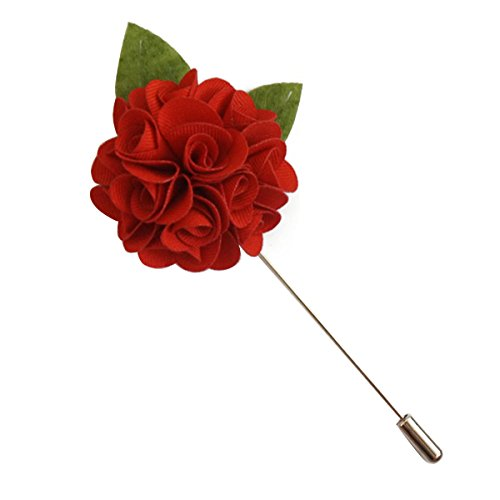 (Suuny Home Wedding Boutonniere Men Silk Lapel Brooch Hand Crafted Suits Men Flower Lapel Pins (Red))