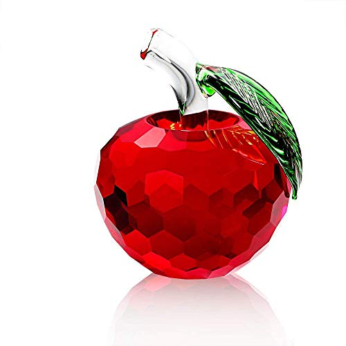 Art Glass Apple (F-ber 3D Crystal Apple Paperweight, 60mm Art Glass Apple Collectible Figurines Best for Lucky Christmas Eve Gifts/Great Wedding Decor Gifts (Red))