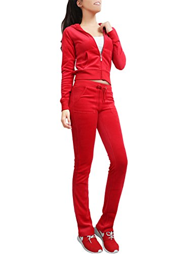 (NE PEOPLE Womens Casual Basic Velour Zip Up Hoodie Sweatsuit Tracksuit Set S-3XL Red)