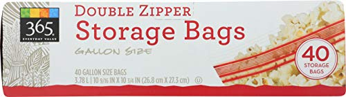 Gallon 40k (365 Everyday Value, Double Zipper Storage Bags, Gallon Size, 40 Count)