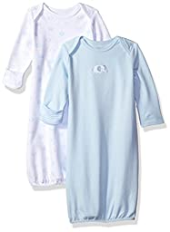 Little Me Baby Boys\' Elephant 2 Pack Gown, White/Light Blue, 0/3 Month