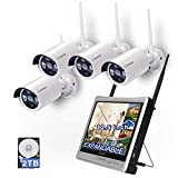 [8CH Expandable]All in one with 12.5' Monitor Wireless Security Camera System, Cromorc Home Business CCTV Surveillance 8CH 1080P NVR Kit, 4pcs 1.3MP 960P Outdoor Night Vision IP Camera, 2TB Hard Drive
