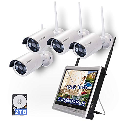 ([Expandable] All in one with Monitor Wireless Security Camera System WIFI NVR Kit 8CH 1080P NVR 4pcs 960P Indoor Outdoor Bullet IP Camera IR Night Vision Weatherproof Plug and Play)