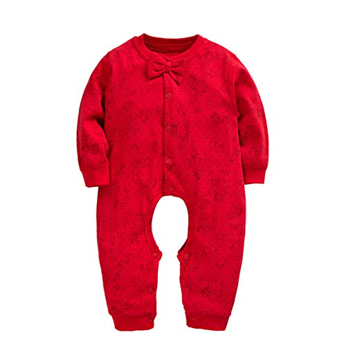 Conjoined Hat - Baby Jumpsuit Rompers Baby Pajamas-Small Bow Tie with Hat Baby Cotton Conjoined Big Red Clothes (Open File Thin Section) 1-3 Years Old