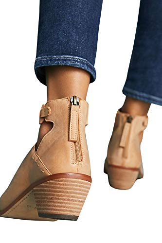 Buckle Zipper Cut Strap Back Brown Womens Booties Out Leather Boots Stitch Ermonn Ankle wxIU5Zq0W
