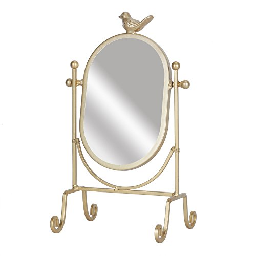 Simmer Stone Makeup Vanity Mirror - Metal 360 Degree Rotatable Decorative Cosmetic Mirror for Bathroom, Bedroom, Tabletop, Gold by Simmer Stone