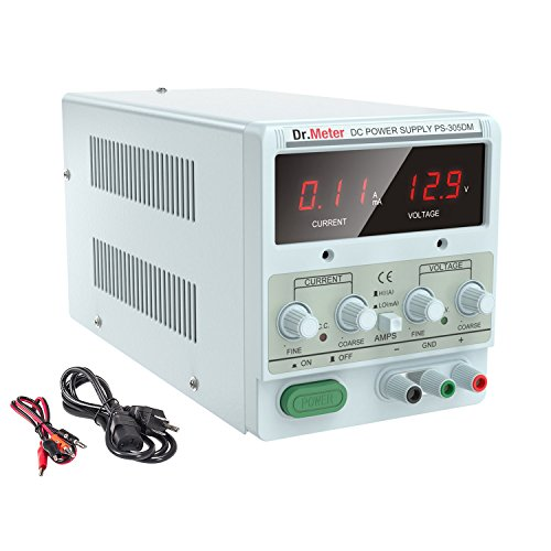 Dr.meter 30V/5A Variable Linear DC Bench Power Supply Single-Output 110V/220V Switching with Alligator Leads Included, US 3-Prong Cable,PS305DM for Lab Equipment (HY3005D)