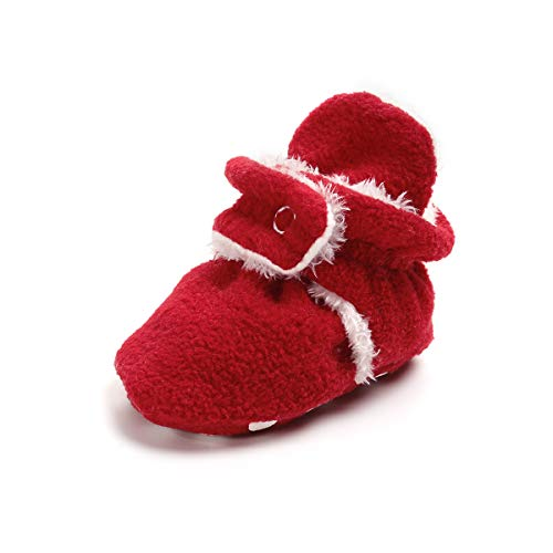 (Baby Boys Girls Cozy Fleece Booties With Non Skid Bottom Infant First Walker Sock Shoes (11cm(0-6 months), A-Red))