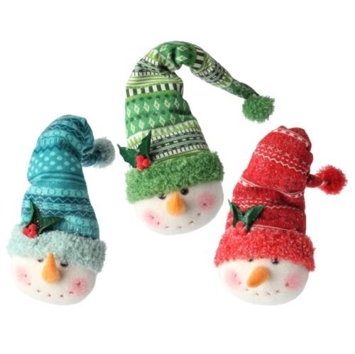 Pigs In A Blanket Costume Diy (VIPASNAM-Snowman Head Christmas Ornament in Ski Hats Set 3 rzchtt 3616528 NEW RAZ)