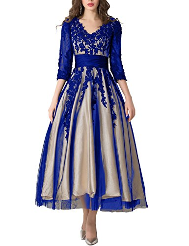 - Tea Length Evening Dresses 2019 Manual Appliqued Empire Waist Pleated Tulle V Neck Party Gowns Work Dresses for Women Lomg Sleeves Formal Gown YW38 Royal Blue Size 14
