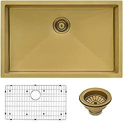 Kitchen Ruvati 33-inch Undermount Satin Brass Matte Gold Stainless Steel Kitchen Sink 16 Gauge Single Bowl – RVH6433GG modern kitchen sinks