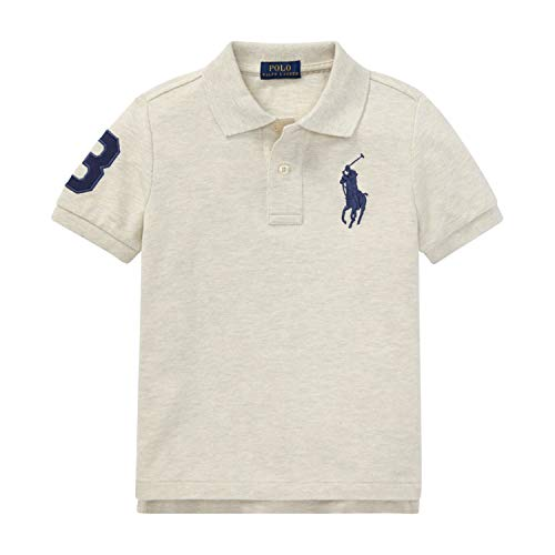 Polo Ralph Lauren Boys Big Pony & Number on Sleeves 100% Cotton(2-20years) (Beige Heather, L(14-16))
