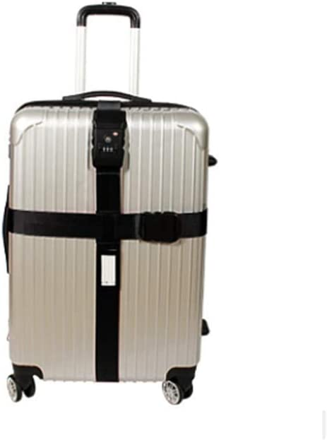 Correa Equipaje-Nylon Resistente/Candado de Combinación TSA-Correas para Viajes Seguros Negro