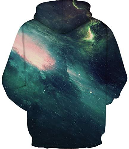 Ocean Lupo Luce Verde Cappuccio Hoodie Di 3d Felpa Maglione Uomo Con Teschio Sweatshirt Cranio Plus Colorato Galassia rnqZaWr