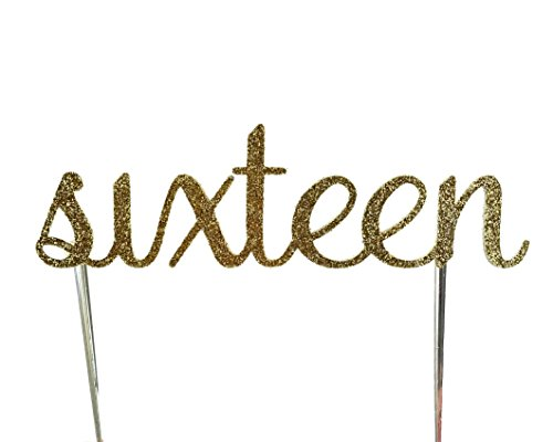 CMS Design Studio Handmade 16th Sixteenth Sweet 16 Birthday Cake Topper Decoration- sixteen - Made in USA with Double Sided Gold Glitter Stock