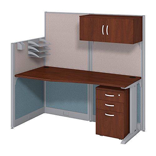 Office in an Hour 65W x 33D Cubicle Workstation with Storage in Hansen Cherry by Bush Business Furniture