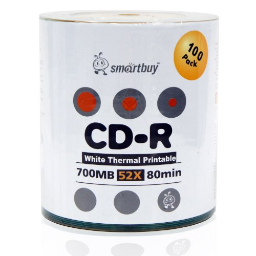 Smart Buy CD-R 6000 Pack 700mb 52x Thermal Printable White Blank Recordable Discs, 6000 Disc, 6000pk by Smart Buy (Image #1)