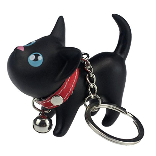 Fullkang Black Cat Kitten Keychain Keyring Bell Toy Lover Key Chain Rings (Fuzzy Kitten)