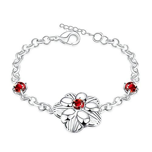 Gnzoe Fashion Jewelry Silver Plated Bracelet Bangle Womens Charm Bracelet Bangle Flower Red Zircon Red (Mens Abercrombie Bracelet)