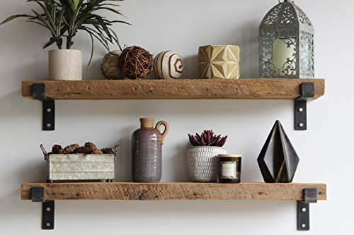 Reclaimed Wood Accent Shelves Rustic Industrial – Amish Handcrafted in Lancaster County, PA – Set of Two 36 Inches, Genuine Salvaged Reclaimed with Raw Metal Brackets Natural 36 x 7 x 2