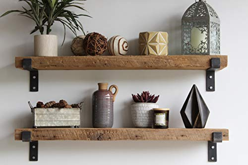 Reclaimed Wood Accent Shelves Rustic Industrial - Amish Handcrafted in Lancaster County, PA - Set of Two | 36 Inches, (Genuine Salvaged/Reclaimed with Raw Metal Brackets) (Natural 36
