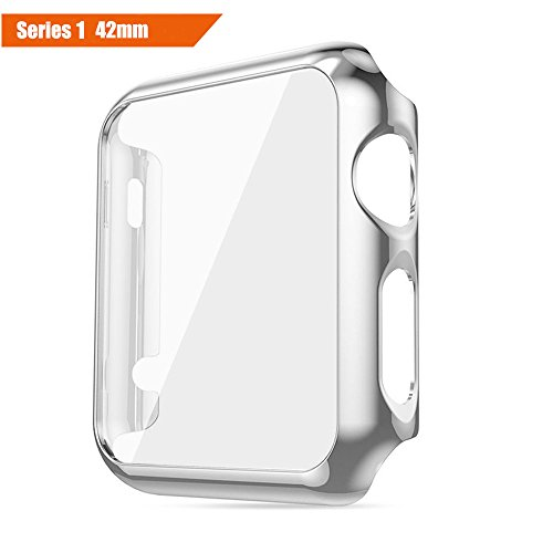 ICE FROG iWatch Series 1 42mm Case, Electroplate Metal Plated PC Slim Hard Protective Bumper HD Screen Protector Full Coverage Case Cover Shell for Apple Watch 42mm - Silver