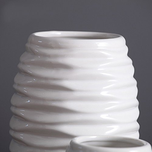 D'vine Dev 11 Inches Tall Wave Design Hand Glazed White Ceramic Vase, Ideal for Fresh Bouquets, Floral Arrangement, Greenery or Silk Flowers, Everyday Home Decoration Vase and Special Events by D'vine Dev