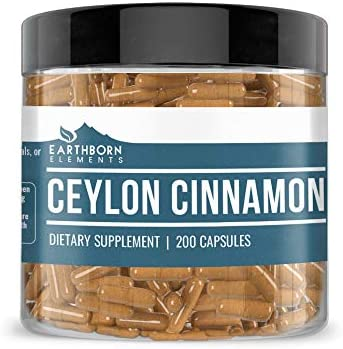 Ceylon Cinnamon Supplement 200 Capsules, 500 mg by Earthborn Elements, Promotes Healthy Blood Sugar Levels, Cholesterol Levels, Bones, Joints