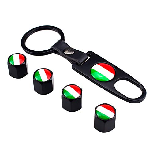 - Loprt Universal Italy Flag Tire Valve Stem Air Dust Cover and Belt Buckle Key Chain (Black)