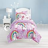 dream FACTORY Unicorn Rainbow Ultra Soft Microfiber Comforter Set Full, Purple