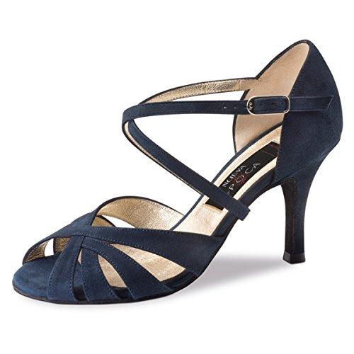 Nueva epoca–Donna Tango/Salsa Scarpe da ballo Gracia–Pelle scamosciata blu–7cm, Donna, Gracia 7, Blau, 42