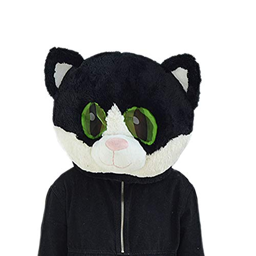 SAOMAI Animal Head Mask,Mascot Costume for Halloween/Masquerade/Carnival/Party Adult Size (Black Cat)]()