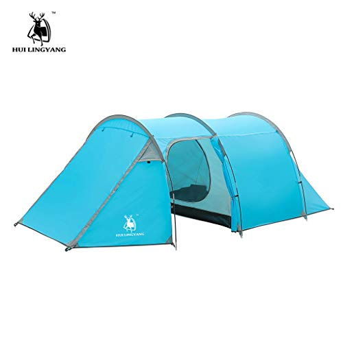 Gallity Outdoor Products -Ultralight Camping 100% Waterproof Tent 3-4 Person Double Layer Tunnel Tent,Easy Assembly, Durable Fabric Full Coverage Family Camping Tent (Blue)