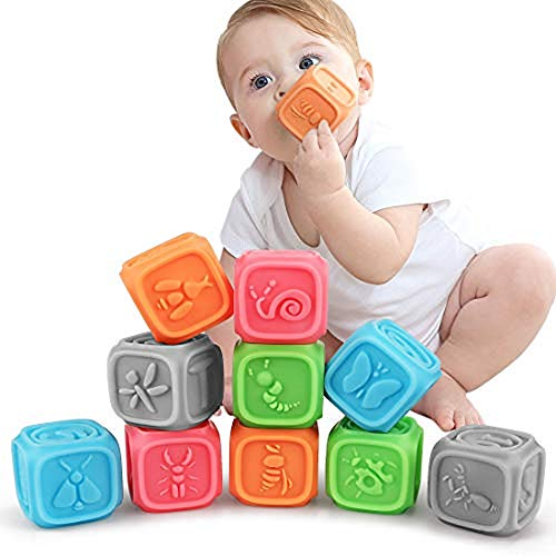 (TUMAMA Baby Soft Blocks, Educational Stacking Building Blocks Teething Chewing Toys for Toddlers, Baby Bath Play with Numbers, Shapes, Animals, Alphabet & Textures)
