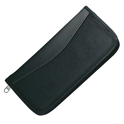 Schwarz Travel Wallet Vollsperrung mit Reißverschluss-Tasche - Dokument Veranstalter Pass Tickets Halter
