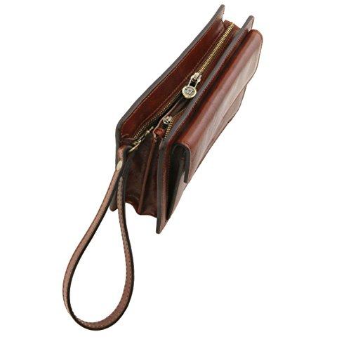 Tuscany Leather Denis - Elegante bolsillo de señor en piel Marrón oscuro Bolsos en piel Miel