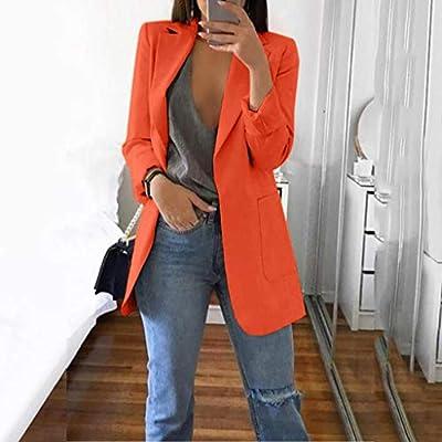 QIQIU Womens Office Plus Size Long Solid Long Sleeve Pocket Elegant Cardigans Suit Casual Jacket Coats: Clothing