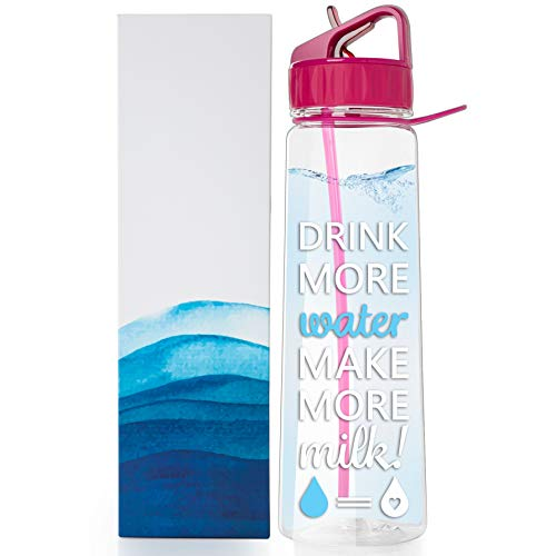 vBU Water Bottle for Breastfeeding Moms 30 oz Goal Marked Time Water Tracker Measure Water Intake Daily. Motivational - Drink More Water Make More Milk,BPA-Free, Straw, flip top, Carrying Loop (The Best Breastfeeding Bottles)