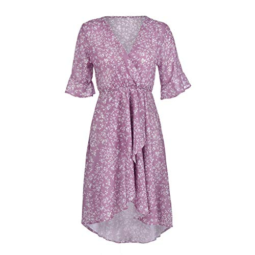 Women's Purple Flare Ruffle Short Sleeve High Split Irregular Hem V Neck Maxi Dress by ★ZFK_DRESS (Image #6)
