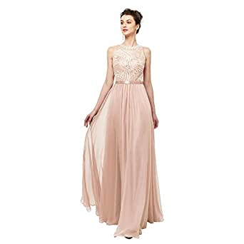 Leyidress Women's Sleeveless Champagne Chiffon A Line Crystal Long Prom Dresses Wedding Party Bridesmaid Dresses US 2