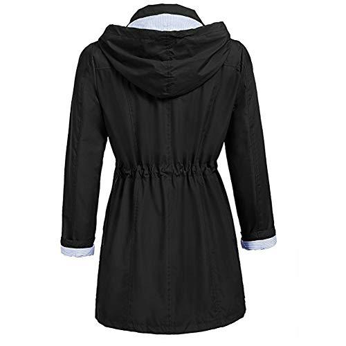 Donna Outwear Antivento Inverno Parka Con Cappuccio Impermeabile Donna Vicgrey Felpa Moda Cappotto ❤ Nero Autunno Giacca IqwWpf