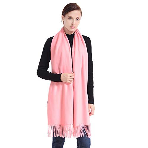 LERDU Ladies Gift Idea Cashmere Scarf Fashion Warm Wool Wrap Shawl Winter Stole for Women Warm Pink - Pink Cashmere Scarf