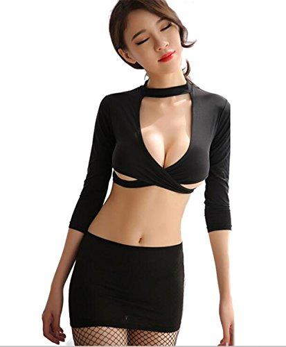 Alljoin Women Uniform Sexy Lingerie Set Secretary Uniform Policewoman Airline Lady Cosplay Costume (Black Secretary) ()