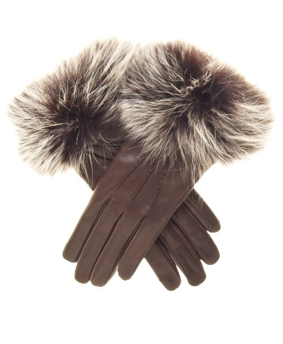 Fratelli Orsini Women's Italian Fox Fur Cuff Cashmere LIned Leather Gloves Size 7 1/2 Color Brown by Fratelli Orsini