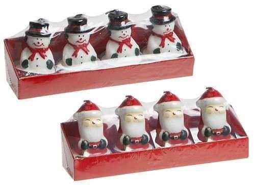 PMS 4 x Snowman & 4 x Santa Shaped Tealight Candles - Christmas Home Ornament - Christmas Decoration