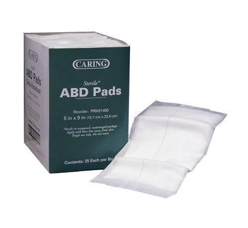 Medline Pad Abdominal Caring, 5 Inch x 9 Inch, 400 Count