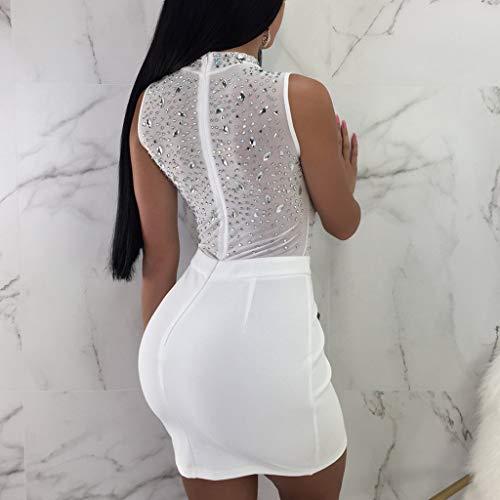 O Bodycon Blanco Club Perspectiva Mangas Malla De Lentejuelas Moda Falda Mini Sexy Vestido Mujeres Sin cuello Smileq qRE0Oaww